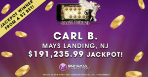 Borgata Casino Online Gaming player Carl B wins big on Divine Fortunes slot game.